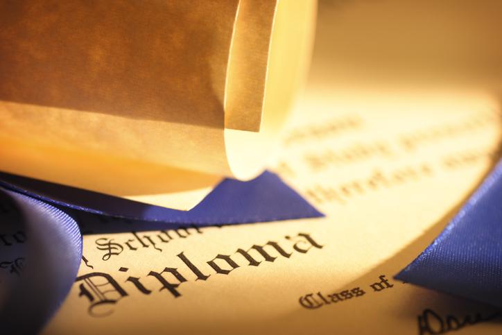 Close up of a graduation diploma