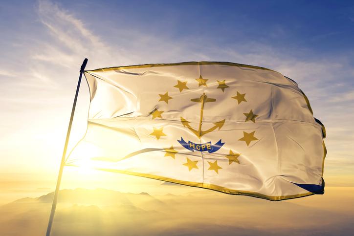 Rhode Island flag at sunrise