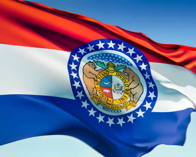 Missouri state flag waving in the wind